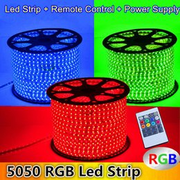 Wholesale ac voltage control - 10M 15M 20M 25M 30M 35M 40M 45M 50M 110V 220V High Voltage SMD 5050 RGB Led Strips Lights Waterproof + IR Remote Control + Power Supply