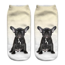 Wholesale Puppy Orange - Wholesale-New Black French BullDog Puppy 3D Print Animal Women Socks Casual cartoon Socks Unisex Low Cut Ankle Socks