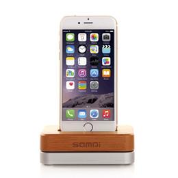 Hölzerne wiegen online-Neue Original SAMDI Holz Aluminium Ladegerät Dock Cradle für iPhone 6 5 S 5 Holz Telefon Ständer Handy Halter für iPhone