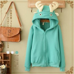 Wholesale Cute College Clothes - 2016 Autumn new casual cute antlers long-sleeved Hooded sweater fleece warm jacket coat college wind cartoon Hooded sweater women clothing