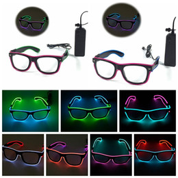 Wholesale Lighted Glasses Party - LED EL Wire Glasses Light Up Glow Sunglasses Eyewear Shades DJ Nightclub Party Lighting Glasses KKA2323
