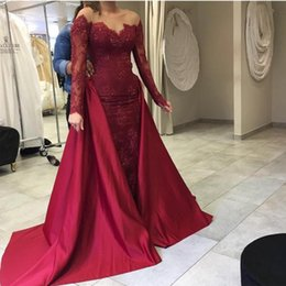 Wholesale Removable Train Prom Dress - 2017 Long Sleeves Burgundy Evening Dresses Scoop Neck Appliques Lace Evening Gowns with Removable Trian Prom Dresses