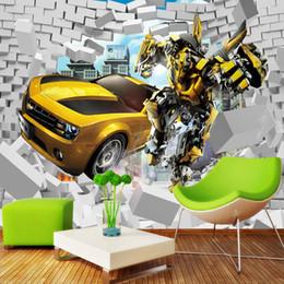 blocs en bois anciens Promotion Transformers Photo Papier Peint Bumblebee Murale 3D Briques Papier Peint Garçon Chambre Salon Décor TV Toile de Fond Mur Designer Papier Peint Voiture
