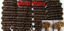Wholesale Human Wavy Hair U Tip - AAAAA Deep Wavy 1g*200s 10-28'' Nail U Tip Prebonded Black Brown Blonde Mixed Ombre Color 100% Real Indian Remy Human Hair Extensions