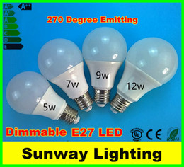 Wholesale Led Globe Bulb Dimmable Free - A60 A19 Dimmable SMD2835 B22 E27 LED Light Bulbs 3w 5w 7w 9w 12w LED Globe Bubble Lights Lamps AC85-265V Free Shipping