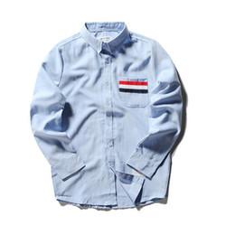 Wholesale Tb Brand - Wholesale-New Novelty 2016 Men Punk Brand Classic Striped TB Fashion Casual Shirts Hip Hop Skateboard Oxford Shirt Size 0 1 2 3 4 5 #304