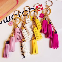 Wholesale Key Ring Red Led Lights - KEYRING 2016 Tassel Camellia Leather Tassels Keychain Bag Pendant Car Ornaments Creative Gifts Long Key Chain Buckle Key Ring Mixed Desings