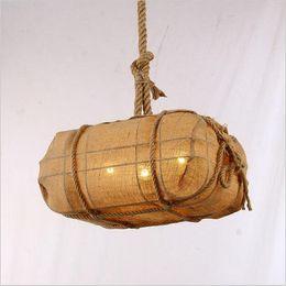Wholesale vintage sack - LED vintage sack light industrial hand woven rope pendant lighting loft hanging lights edison bulb lamps E27 lighting fixture