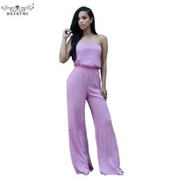 Wholesale Women Office Cloth - Wholesale- Tube Top Bell-bottoms Sexy Summer Jumpsuit Women Suit Loose Casual Sleeveless Long Pants Rompers Bodycon Office Work Cloth