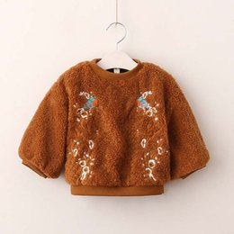 Wholesale Kids Fur Coat Girls Gray - New Autumn Winter Kids Clothing embroidery fur Girls Sweater Children Hoody kids Sweater Coat Pullover Sweaters Girl Tops Girl Clothes A1244