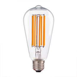 Wholesale E27 Bulbs Long - 8W LED long Filament Bulb,Edison ST64 Clear Style,Super Warm,E26 E27 Base,Decorative For Pendant Lamp,Dimmable