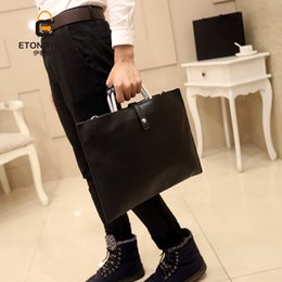 Wholesale wholesale leather briefcases - Wholesale- Men PU Leather Handbag Fashion Crossbody Shoulder Bags Messenger Bag Briefcase Business For Male Tote