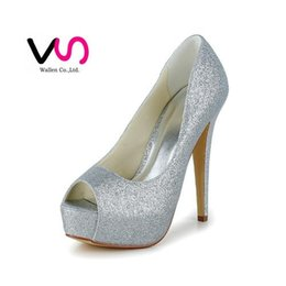 Wholesale Navy Blue Satin Pumps - 2016 New Hot Cinderella Luxury Prom Wedding Shoes Princess High Heel Sparkly Gillter Silver Open Shoe Toe Women Bridal Shoes Party Shoes
