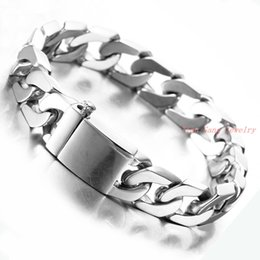 Wholesale Smooth Rings Silver Bracelets - Men Bracelet Jewelry Silver Gold Stainless Steel Bracelets For Men Chain Link Bracelet Smooth Wide Bracelets Bangles wholesale