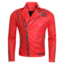 Wholesale Men S Red Leather Jacket - Fall-2016 Red Motorcycle Leather Coat European And American Style Brand Michael Jackson Jacket Designer Mens Auto Leather Coat S1897