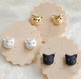 Wholesale Animal Vintage Earrings - 2016 Cute Gargle Cat Earring Double Side Vintage Shining Cat Head Earrings Realistic Lovely Pearl Stud Earring for Women Brinco De Meninas