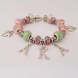 Wholesale Custom Bead Bracelets - Wholesale-Custom AKA Sorority letter charm bead bead bracelet bangle Jewelry AKA Ivies bracelet Jewelry 1pcs free shipping
