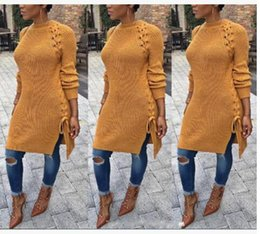 Wholesale Autumn Cross Stitch - Autumn Winter new Women Long knitted Sweater Dress Fashion Bandage Pullovers Sweater Sexy Side Split Lace Up jumper dress