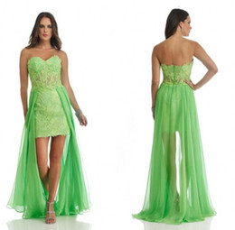 Wholesale High Low Chiffon Homecoming Dresses - Chiffon High Low Homecoming Dresses Sweetheart Sheer Waist Lace Appliques Kelly Green 2017 Vestidos de fiesta Prom Gowns Cheap Custom Made