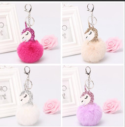 Wholesale Rabbit Key - Unicorn pompom Keychain Cute Rabbit fur ball Fluffy licorne key chain Horse porte clef pompom de fourrure pompom Bag Car Keyring