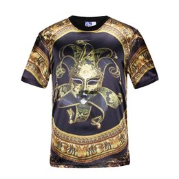 Wholesale Print Circle - Mikeal Mask Clown t-shirt men's 3d print flowers circle summer tops t shirt 3d sports tees slim Asia S-XXL