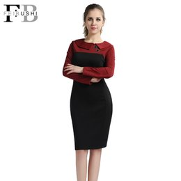 Wholesale Black Color Block Dress - 2017 Autumn Hot Sales Women Patchwork Dress Casual Elegant Color Block Long Sleeve Peter Pan Collar Cotton Knee-Lenght Dress