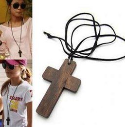 Wholesale Wooden Cross Pendant Necklace - Retro Design Korean Fashion Big Jesus Wood Wooden cross Pendant Hide Rope String Chain vintage Sweater Necklace jewelry Xmas Christmas gifts
