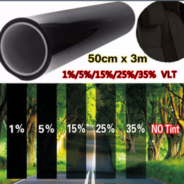 Wholesale cars commercial - Wholesale- Car window tint film 50cm*300cm glass VTL 5% roll black for car side window house commercial solar protection summer car sticker