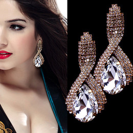 Wholesale Drop Crystal Diamond Stud Earring - Latest Sparkling Crystal Diamonds Bridal Earrings Stunning Wedding Accessories High Quality Water Drap Fashion Women Earrings 2016
