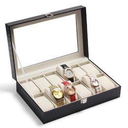 Wholesale Professional Jewelry Storage - Free shipping Black PU leather 12Grid professional Wrist Watch Display Box Jewelry Storage Holder Organizer Case Top Quality