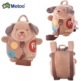 Wholesale Metoo Cartoon - Wholesale-Plush Cartoon Backpacks for Kids Kindergarten with Waking Wings Metoo New Design Dog Backpacks for Kids Safe 1-4 years old