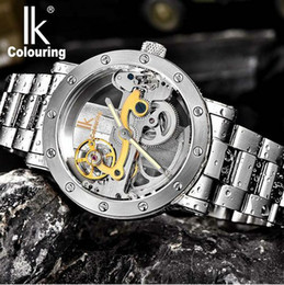 Wholesale green colour watches - Men's watch IK Colouring Hollow Automatic Mechanical Watch with Stainless Steel BracelTransparent Unique Full Steel Man Watch 50M waterproof