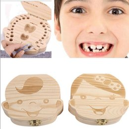 Wholesale Wood Storage Kits - Tooth Box for Baby Save Milk Teeth Boys Girls Wood Storage Boxes Creative Gift for Kids Travel Kit Keepsake Keepsake KKA2813