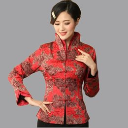 Wholesale Chinese Red Jackets - Wholesale- High Quality Red Women's Cotton Linen Jacket Traditional Chinese style Coat Flowers Mujer Chaqueta Size S M L XL XXL XXXL Mny06B