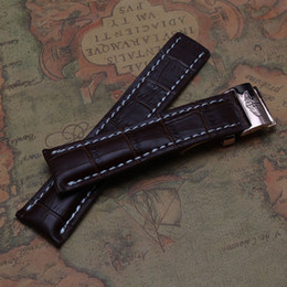 Wholesale crocodile watchband - Brown Crocodile Pattern Watchbands cowhide leather with white line watch accessories Rosegold stainless steel deployment buckle freeshipping