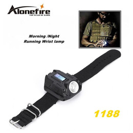 Wholesale Charge Torch - ALONEFIRE 1188 New Portable CREE XPE Q5 R2 LED Wrist Watch Flashlight Torch Light USB Charging Wrist Model Tactical Rechargeable Flashlight