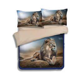 Wholesale Lion Comforter Sets King Size - New Arrival Lion Printing Bedding Sets Twin Full Queen King Size Fabric Cotton Duvet Covers Pillow Shams Comforter Animal Fashion Designer