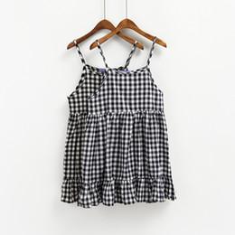 Wholesale Korean Strap Dresses - harajuku women dresses raock smmer dress 2017 korean black dress new plaid doll camisole kawaii womeun dress cute beach dress