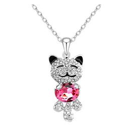 Wholesale Swarovski Necklace Designs - Women Girls Lucky Cat Animal Design Jewelry Swarovski Crystals Cute Sweet Teddy Bear Princess Smiling Pendant Necklace