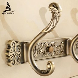 Wholesale Antique Door Accessories - Free Shipping Bathroom wall Carving Antique robe hooks 4-8 Row Hook coat hanger door hooks for bathroom accessories HA-26F