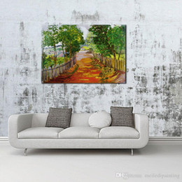 Wholesale Best Abstract Oil Paintings - One-Picture Combination Art Wall Colorful autumn tree-lined trail,best canvas prints For Home Decoration