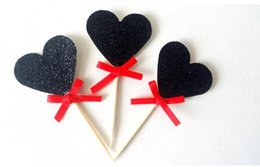 Wholesale Red Ribbons Cake - glitter hearts with red ribbon valentine's day Cupcake Toppers Bachelorette Party & Hen Party Supplies wedding Party Decoration Festive