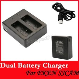 Wholesale Cheap Camera Chargers - Tnt Post Cheap Action Camera Accessories EKEN Sjcam Universal Dual Battery Charger For SJ4000 SJ4000 Wifi SJ4000+ SJ5000 SJ5000+ SJ6000 M10