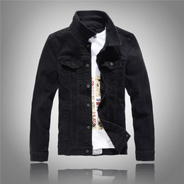 Wholesale Yellow Denim Jacket Men - Wholesale- 2017 Hot Slim Mens Cotton Jackets and Coats Casual Denim Jacket Men Veste Homme Men Jeans Jacket Male White Black Army Green Red