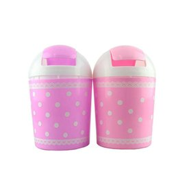 Wholesale Wholesale Trash Barrels - Durable Fashion Car Rubbish Bin Fresh Lace Polka Dot Desktop Storage Barrels Creative Mini Trash Can Random Color
