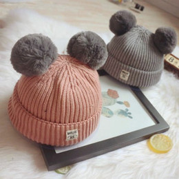 Wholesale Newborn Baby Beanie Cap Girl - Crochet Poms Baby Hats Beanie Cap Newborn Babies Beanies Winter Knitted Ear Warmers Boys and Girls Turban Hat Winter