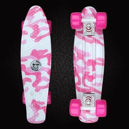 Wholesale Truck Board Skateboard - Wholesale-Free Shipping Mini Cruiser Printed Plastic Skateboard 22inch Retro Longboard Truck Skate Long Board Deck Skate Board PD11