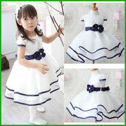 Wholesale Free Kids Pageant Dresses - white blue hot selling girls dresses party pageant weeding vestidos fashion lovely children sundress kids clothing set free shipping