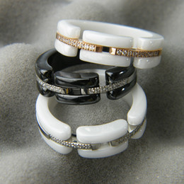Wholesale Crystal Clay Rings - White Black Ceramic Rings with Rhinestone, Rose Gold Silver Metal colors Titanium Stainless steel Women Men Fashion Jewelry ---Size 6 to 11