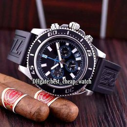 Wholesale Superocean Strap - AAA Brand Luxury High Quality 44mm Superocean Chronograph II A733 A1334102 Black Blue Dial Quartz Men's Watch Rubber Strap New Wristwatches